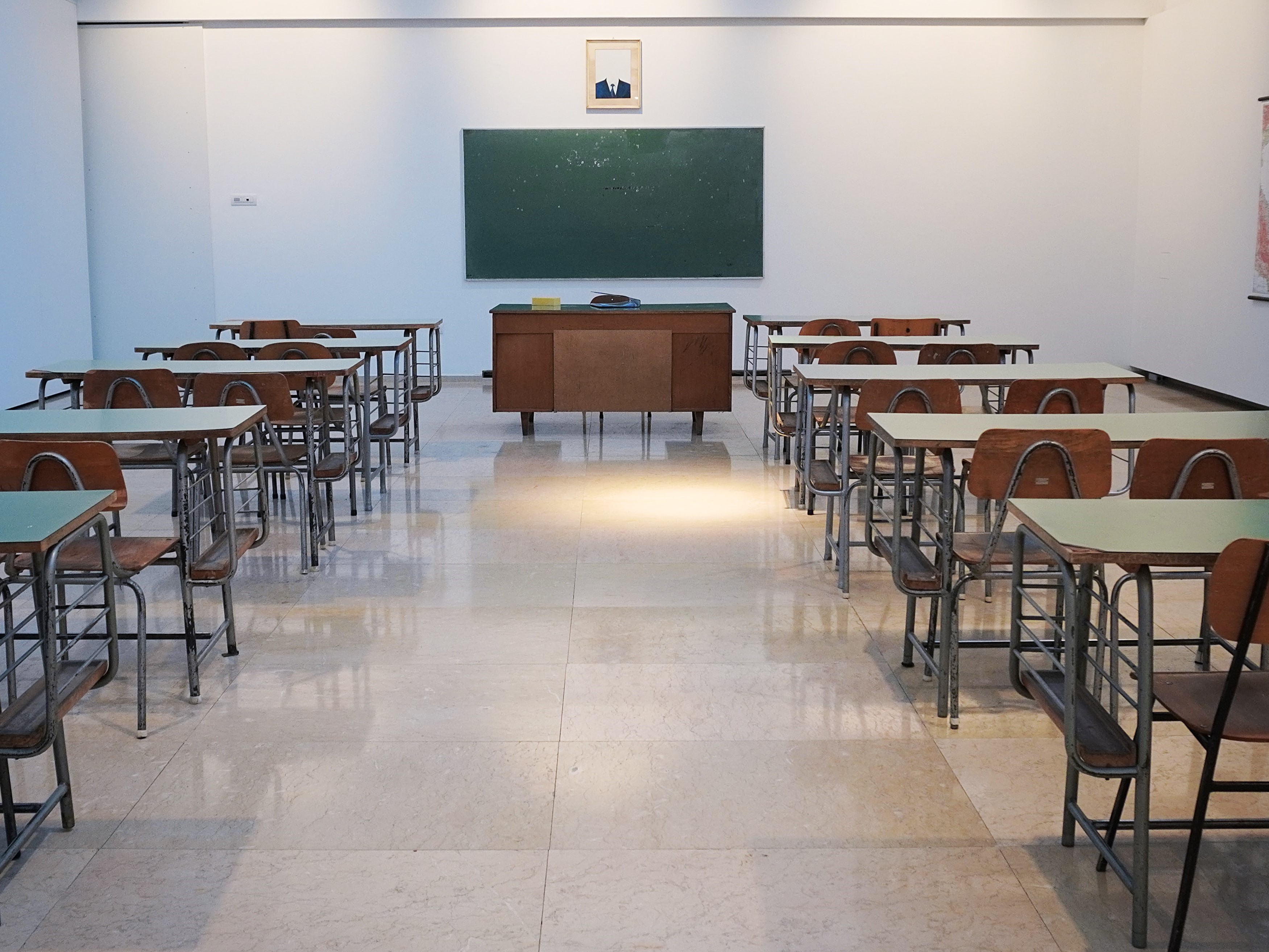 An empty classroom. The crisis is now impacting 363 million learners worldwide. Image credit: Ivan Aleksic/Unsplash