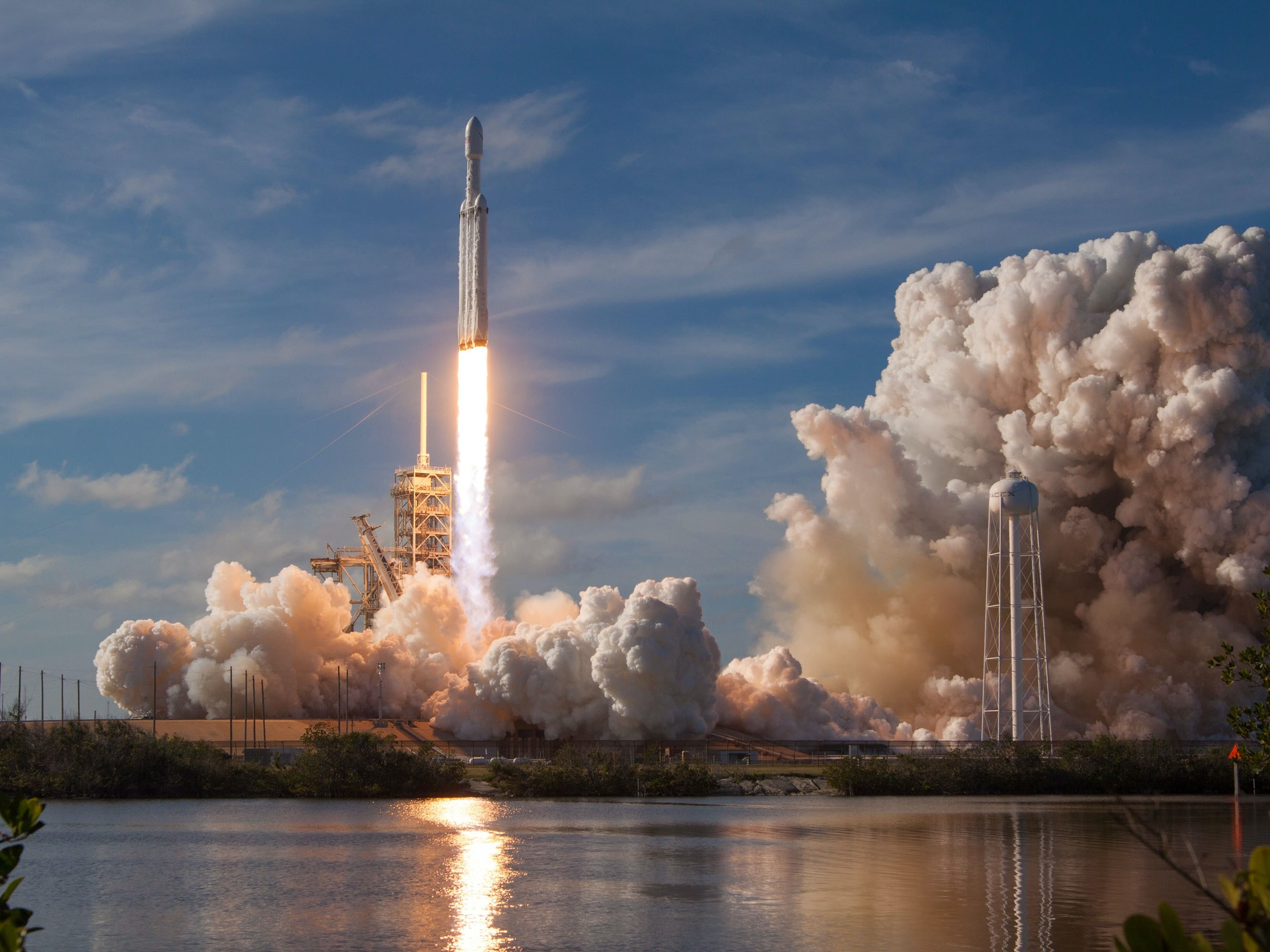 A rocket taking off from a launching base. Image credit: SpaceX/Unsplash